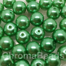 10mm Glass faux Pearls - Soft Green (40 round pearl beads) jewellery making