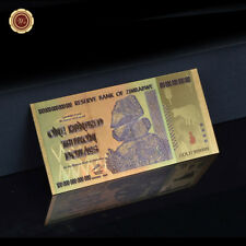 WR 2008 Zimbabwe 100 Trillion Dollar Note 24K GOLD Foil Banknote Collection Gift