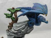 Blue Dragon Figurine Mythology on a Rock Ceramic Medieval Fantasy 10x11x3.5