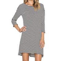 BB Dakota Womens Sz Large Disa Dress Black White Striped Tunic 3/4 Sleeve