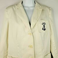 Chaps Off White Cotton Blazer Nautical Anchor Yacht Rock Size 8