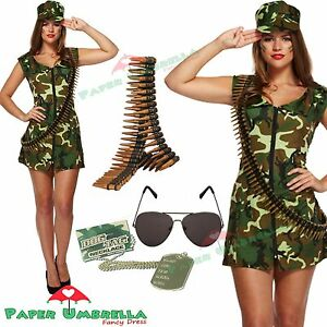 Ladies ARMY Fancy Dress + Bullet Belt Costume Soldier WW2 World War Two outfit