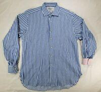Charles Tyrwhitt Mens Blue Striped LongSleeve Button Up Dress Shirt-XL 16 1/2x36