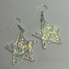 White Holo Large Star Glitter Charms Resin Earrings D204 Kitsch 5.5cm Silver