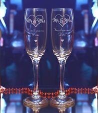 Personalised Engraved Mr Mrs In Love heart Wedding Champagne Flute Set of 2/40