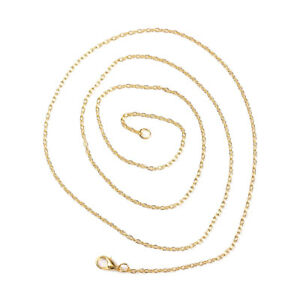 """1 Pc Jewelry Necklace Oval Gold Plated Cable Chain 45.7cm(18"""") long(B59641)"""