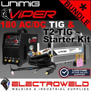 UNIMIG VIPER 180 ACDC HF TIG STICK *WELDER, T2 STARTER KIT, T2 TORCH, REGULATOR*