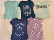 Lot of 5 Girls Green Short Sleeve Shirts Size 4-5 Extra Small NEW & Slight USE