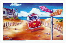 Summer Life Tea Towel Surf City Beach VW Kombi Outback adventure Bar design