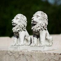 2pc Stone Effect Garden Lions Ornaments Statues Sculptures Decor Outdoor King
