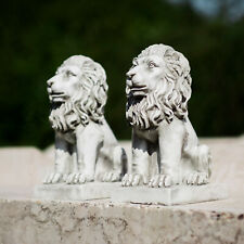 NEW Pair of Stone Effect Garden Lions Ornaments Statues Sculptures Decor Outdoor