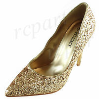 New women's glitter evening pointed toe shoes high heel formal wedding Gold