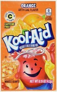 50 Packs of  Kool Aid ORANGE Flavor Drink Mix Packets Unsweetened Caffeine Free
