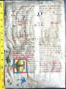 Flawed lg.Medieval illuminated liturgical leaf.Gold initial&floral decor,c.1400