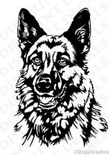 "GERMAN SHEPHERD 12"" dog decal sticker BLACK car truck SUV die cut vinyl"