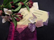 Rose Quartz/Amethyst/Clear Quartz - 3 raw natural crystals -Chakra Reiki Healing