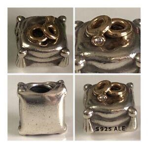 PANDORA WEDDING RINGS CUSHION 14ct GOLD & DIAMOND CHARM REF 790549D DISCONTINUED
