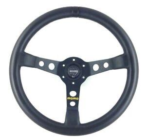 Genuine Momo Mod.07, 350mm, 3 spoke black leather steering wheel.  SUPERB!   18B