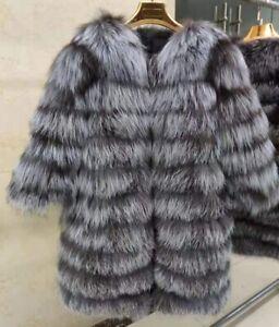 On sale Women Outwear Real Silver Fox Fur Coat Jacket Winter Fur Outerwear