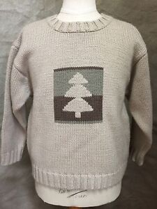 Boys European WOOL Blend PINE TREE Forest Woods Sweater Tan 5 6 France JACADI