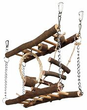 Natural Wood Suspension Bridge Toy for Hamster Gerbil Mice