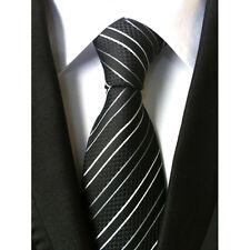 New Classic Striped Black White JACQUARD WOVEN Silk Men's Tie Necktie