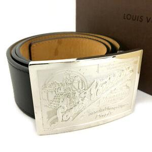 Louis Vuitton Ceinture Jeans Black Leather 95cm Mens Belt /70519
