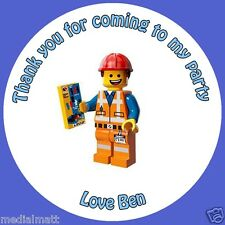 Personalised Emmet Lego Movie 37mm Birthday Stickers Party Thank You