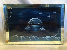 """HAND PAINTED MIRROR OF """"OCEAN SCENE"""" 2 DOLPHINS DANCING IN THE MOON LIGHT 5.5x8"""""""