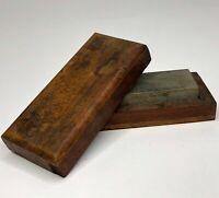 Antique / Vintage Whetstone Razor Hone Knife Sharpening Oil Stone in Wooden Box