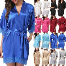 Women Sexy Lace Satin Silk Nightdress Ladies Lingerie Dress Wrap Robe Sleepwear