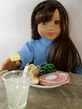AG Doll Miniature Ham and Green Bean Dinner with Lemon Dessert and Drink