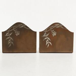 Antique Heintz Sterling on Bronze Bookends, Unsigned
