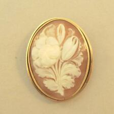 Carved Flower Shell Cameo Pendant Brooch in 14k Gold Frame