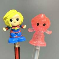 2X Woolworths Disney Plus Ooshies Marvel captain glitter Pencil Topper Toy gift