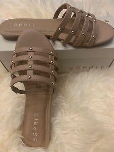 Esprit Women's 8.5 Beige Slippers Sandals Flat Memory Foam Kylee Dusty Pink Nude