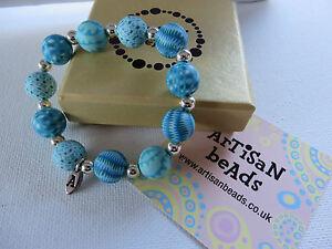 ARTISAN TURQUOISE BLUE RANDOM DESIGN STRETCH WATERPROOF BEAD BRACELET new boxed