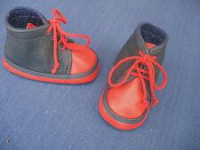 Puppenschuhe  Babyschuhe dunkelblau /rot  echtes Leder  11cm   Handarbeit