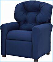 Kids Mini Small Recliner Chair Seat Microfiber, Traditional, Blue, Furniture