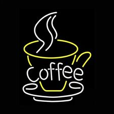 "Coffee Cafe Plate Open Neon Lamp Sign 17""x14"" Bar Light Glass Artwork Display"