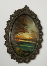 Antique Victorian Painting Oval with Bow Glass c1920 Artist Bary water country