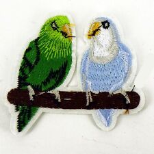 Budgie Birds bird duo Embroidered patch Sew or Iron on cloth badge P3