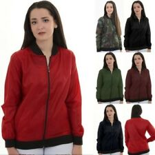 Ladies Long Sleeve Crew Neck Lightweight Thin Bomber Varsity A1 Plain Jacket