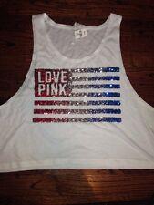 Victorias Secret Pink BLING Sequin American Flag Crop Muscle Tank Top Shirt XS