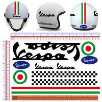 Vespa pvc nero adesivi casco tricolore italia flag sticker helmet cropped 11 pz.