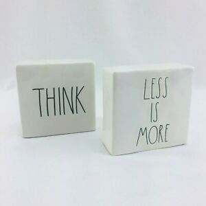 Rae Dunn Think Evolve & More or Less Less is More Decorative Paperweights