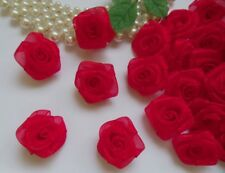 "1"" Red Organza Ribbon Roses Flowers Appliques / Christmas-Lots 50 Pcs(R0082R)"