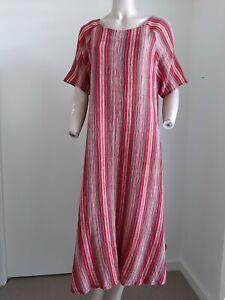 Chee Short Sleeve Round Neck Cotton Striped Maxi Dress Plus Size 16