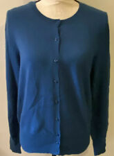 LORD & TAYLOR 100% Cashmere Teal Cardigan Button Front Large L NWT $174⭐️
