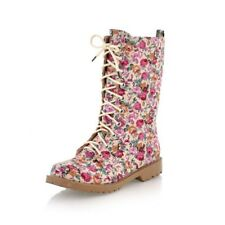 Ladies Boho Floral Lace Up Canvas Boots Girls Spring Casual Flat Shoes ML002